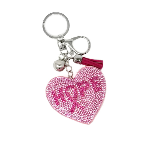 Hope Pink Ribbon Rhinestone Tape Keychain