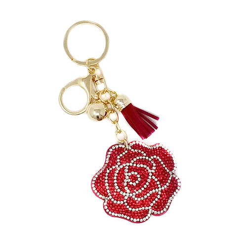 Blooming Rose Rhinestone Tape Keychain
