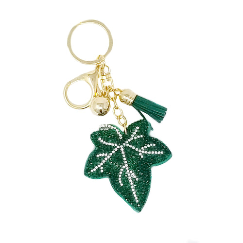Grape Leaf Rhinestone Tape Keychain
