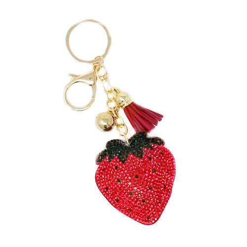 Strawberry Rhinestone Tape Keychain