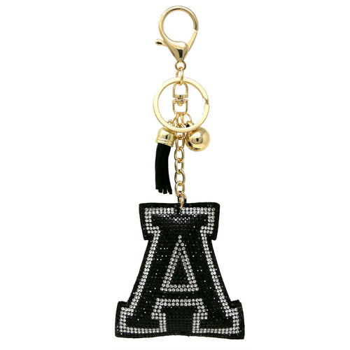 Rhinestone Tape A Letter Keychain