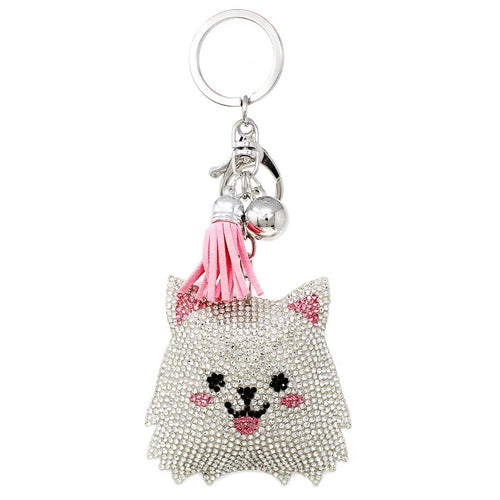 Happy Kitten Rhinestone Tape Keychain