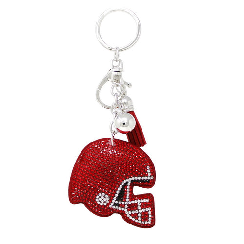 Football Helmet Rhinestone Tape Keychain