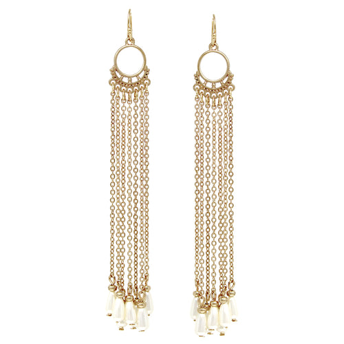 Pearl Bead Dangle Chain Fringe Drop Earrings
