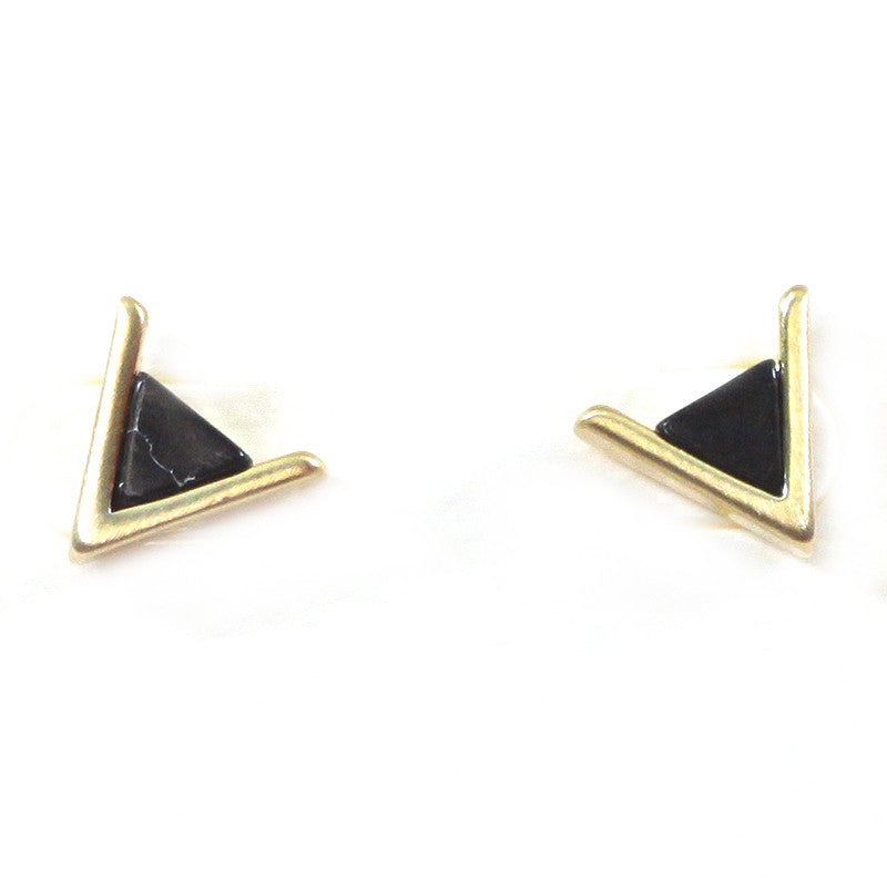 Triangle Marble Studs Earrings