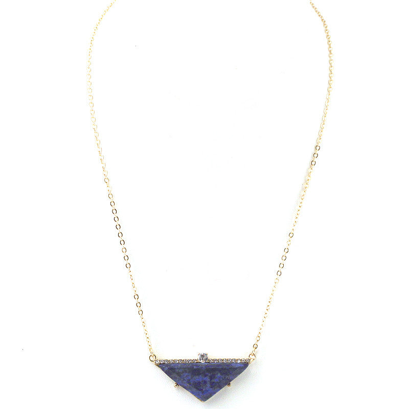 Semi Precious Stone Triangle Pendant Necklace