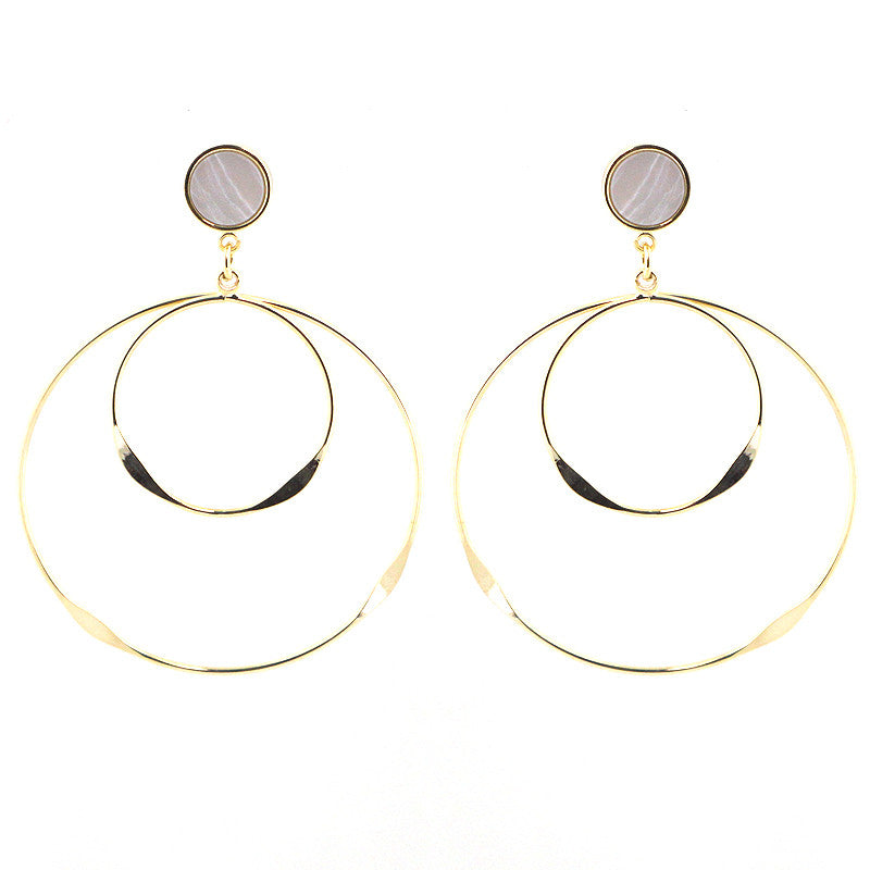 Geometric Drop Earrings with Marble