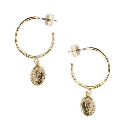 Mini Coin Charm Hoop Earrongs