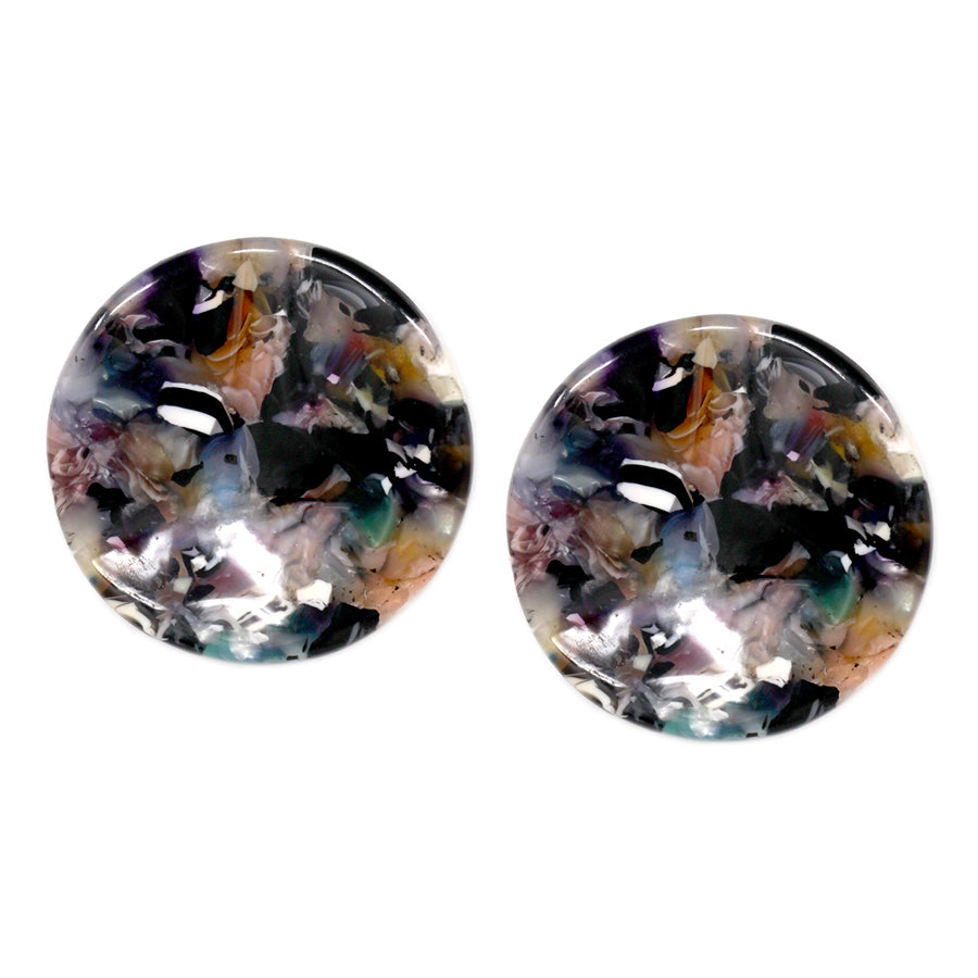 Curved Acrylic Disc Stud Earrings