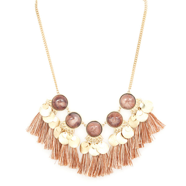Thread Tassel Natural stone  Necklace