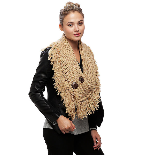 Acrylic Knit Solid Yarn with Fringe Infinity Scarf