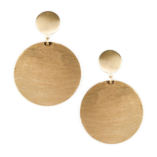 Urban Sanded Metal Double Disk Drop Earrings