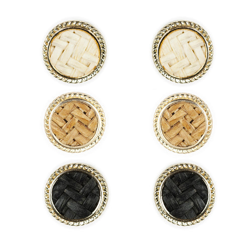 Geometric Round Tile Pattern Stud Earrings (3 Pairs)
