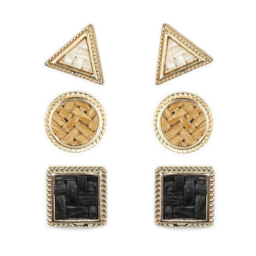 Geometric Tile Pattern Stud Earrings (3 Pairs)