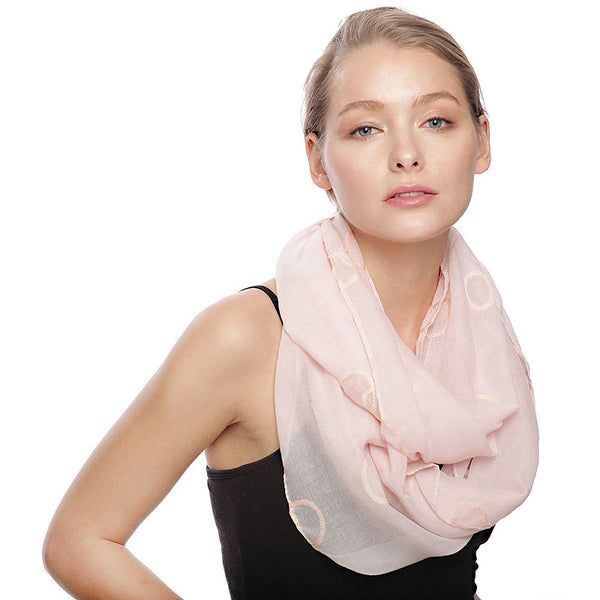 Polka Dot Embroidery Infinity Scarf