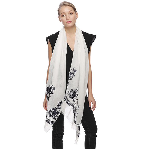 Embroidery Oblong Scarf