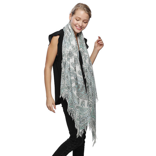 Paisley & Floral Pattern Oblong Scarf