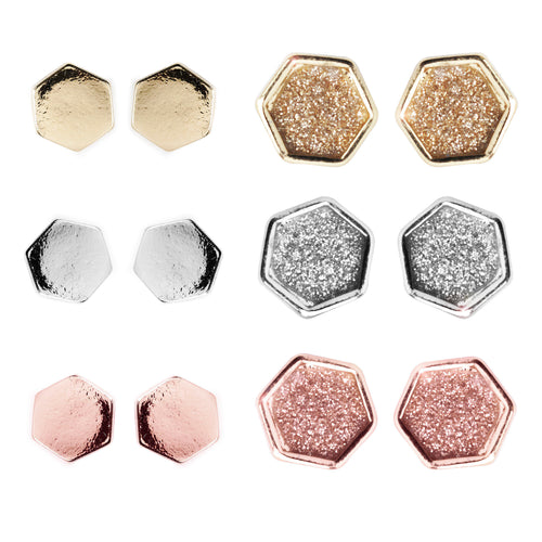 Hexagon Geometric Tri Tone Stud Earrings (6 Pairs)