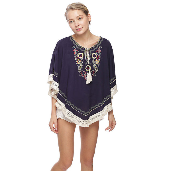 Embroidery and Fringe Cover Up