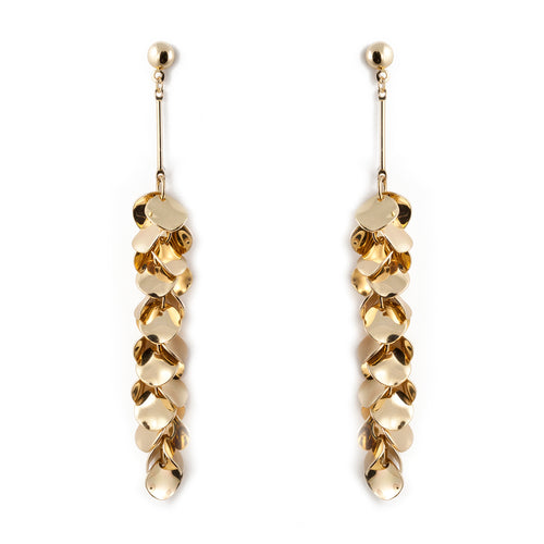 Bohemian Curved Plate Cluster Drop Earrings