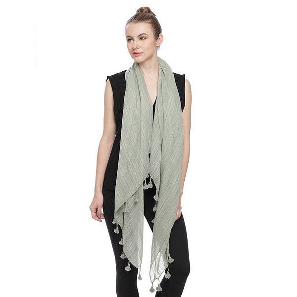 Viscose Oblong Scarf with Tassel
