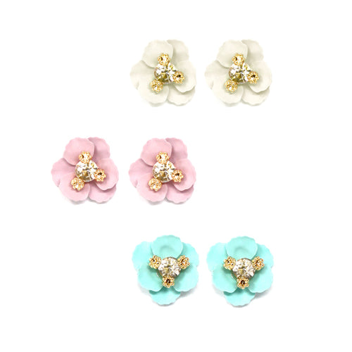 Blooming Flower Stud Earrings Set