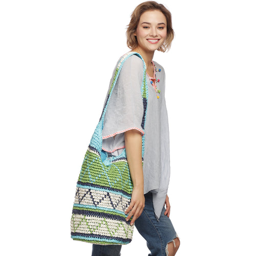 Boho Multi Color Knitted Handmade Bag