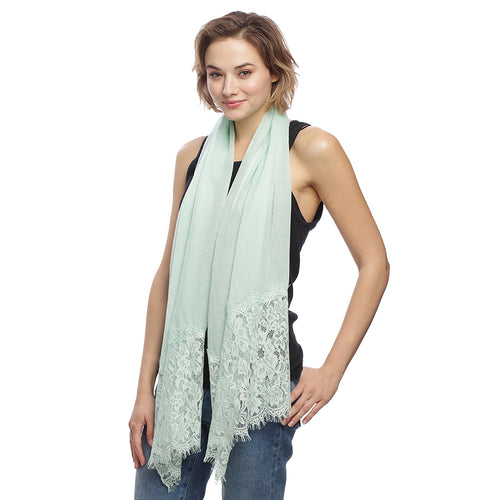 Glitter With Floral Lace Trimmed Scarf