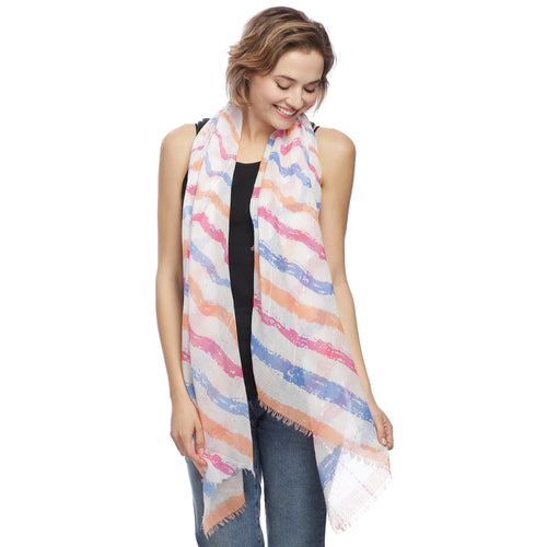 Sequin Seam Striped Oblong Scarf