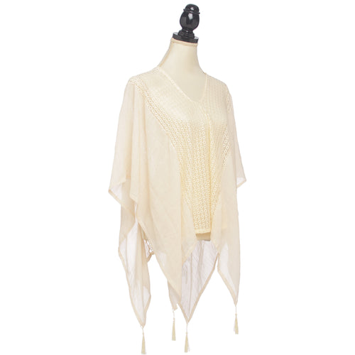 Center Lace Tassel Poncho