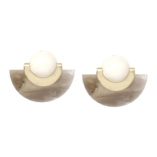 Acrylic Half Disc With Cabochon Stud Earrings