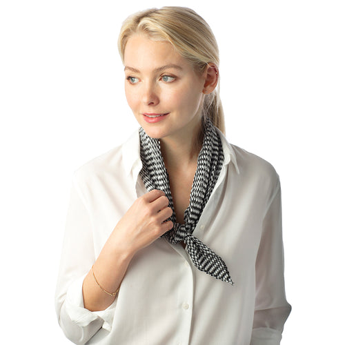 Pleated Gingham Print Scarf