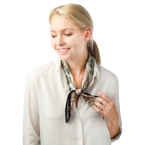 Paisley Print Pleated Satin Scarf