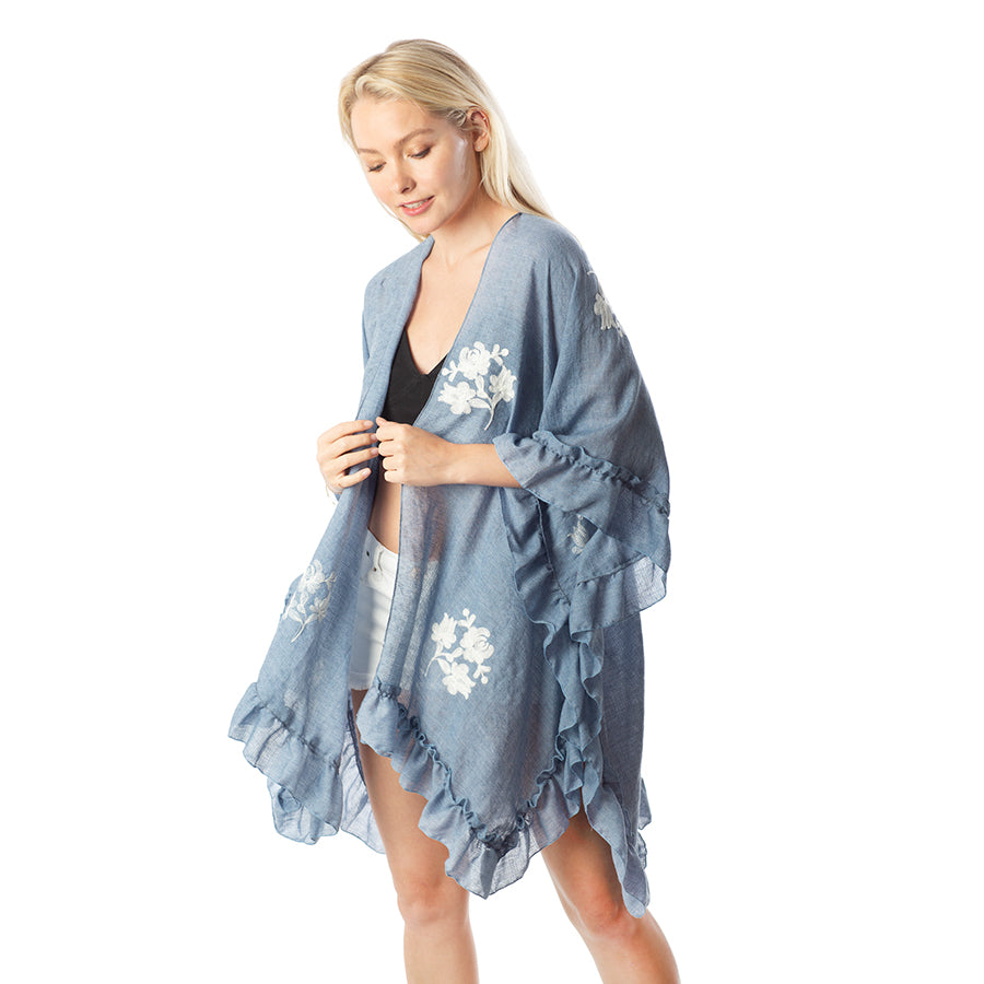 Floral Embroidery With Ruffles Kimono
