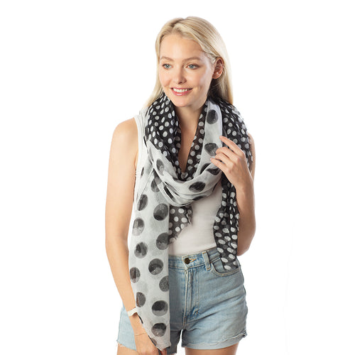Polka Dots Print With Sequins Scarf