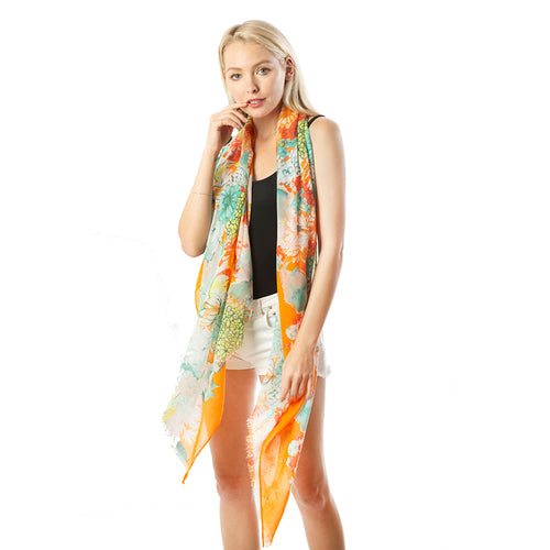 Floral Printed Oblong Scarf