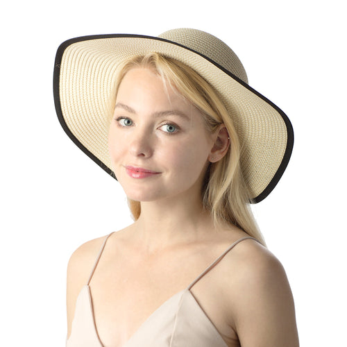 Straw Sun Hat With Bow Ribbon
