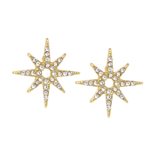Pave Glass Stone Starburst Stud Earrings