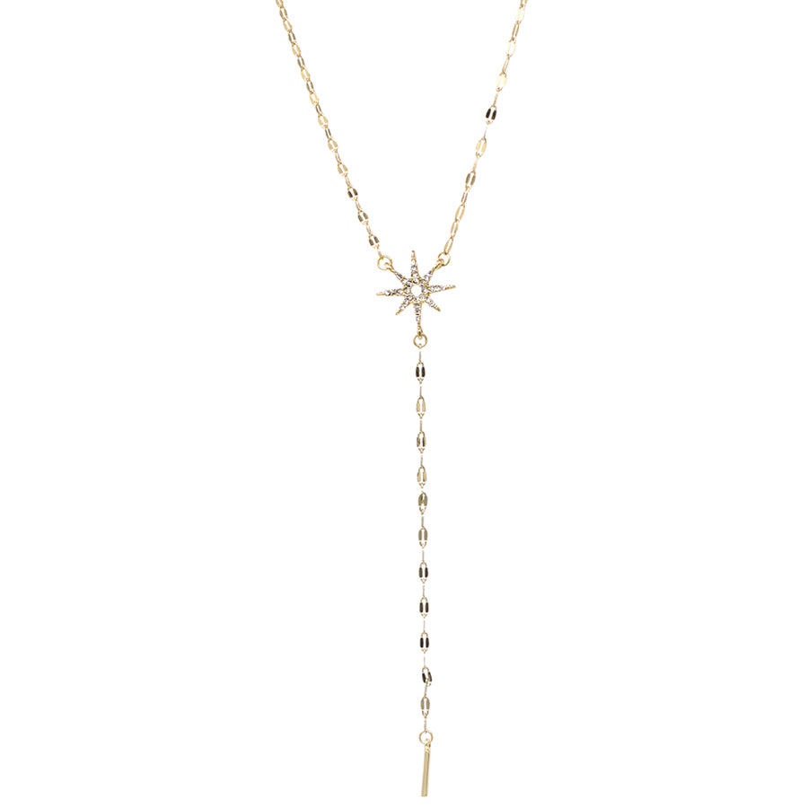 Pave Glass Stone Starburst With Mini Bar Drop Y-Necklace