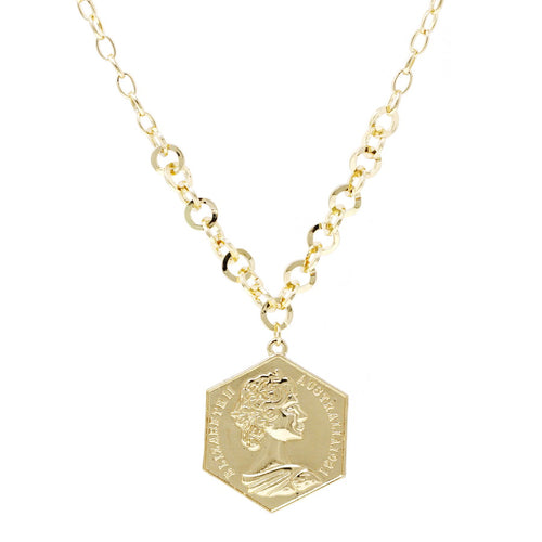 Coin Pendant Short Chain Necklace