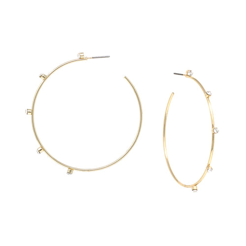 Glass Stone With Skinny Hoop Earrings (Small)
