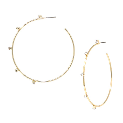 Glass Stone With Skinny Hoop Earrings (Large)
