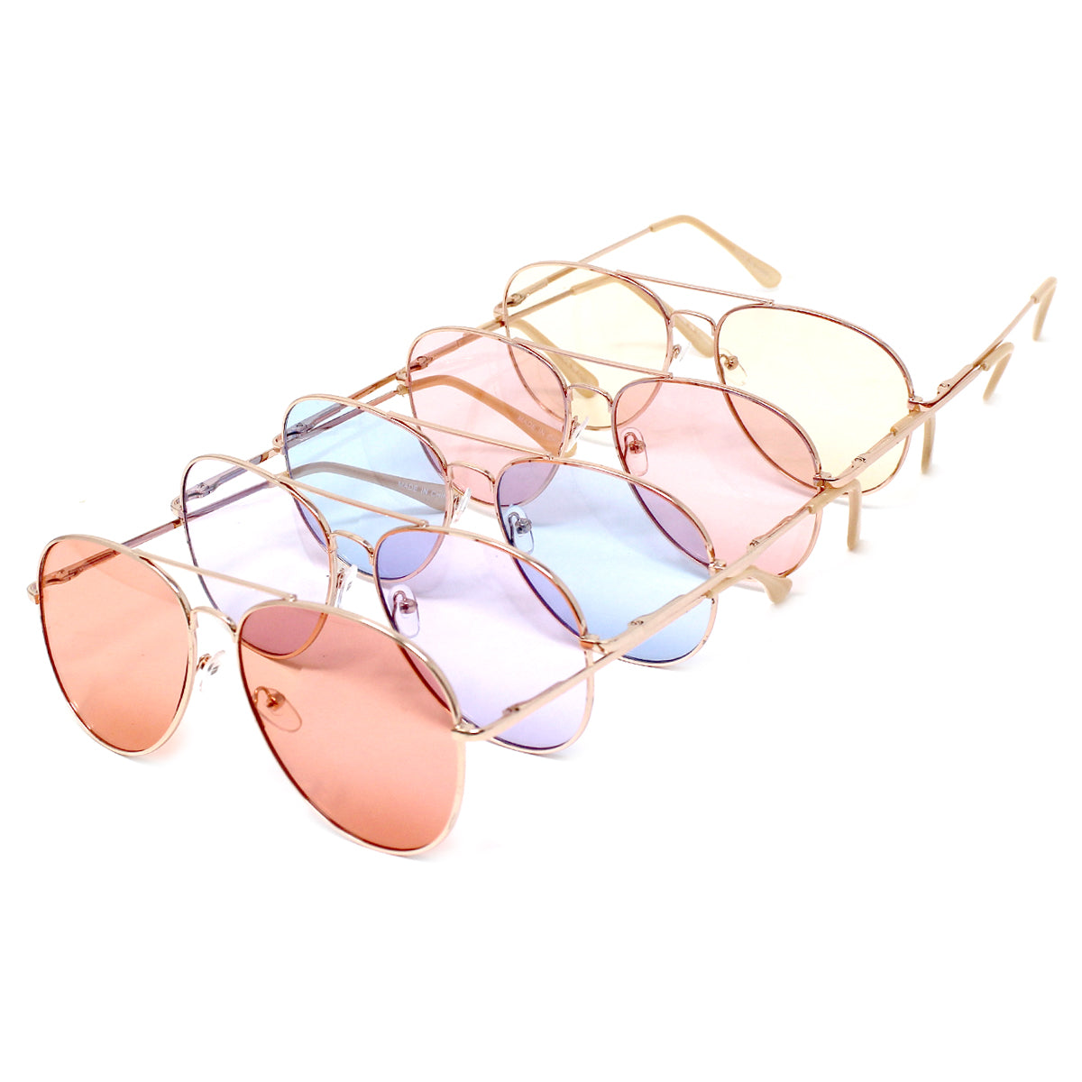 Color Tinted Aviator Assorted Fashion Sunglasses (12 pieces)