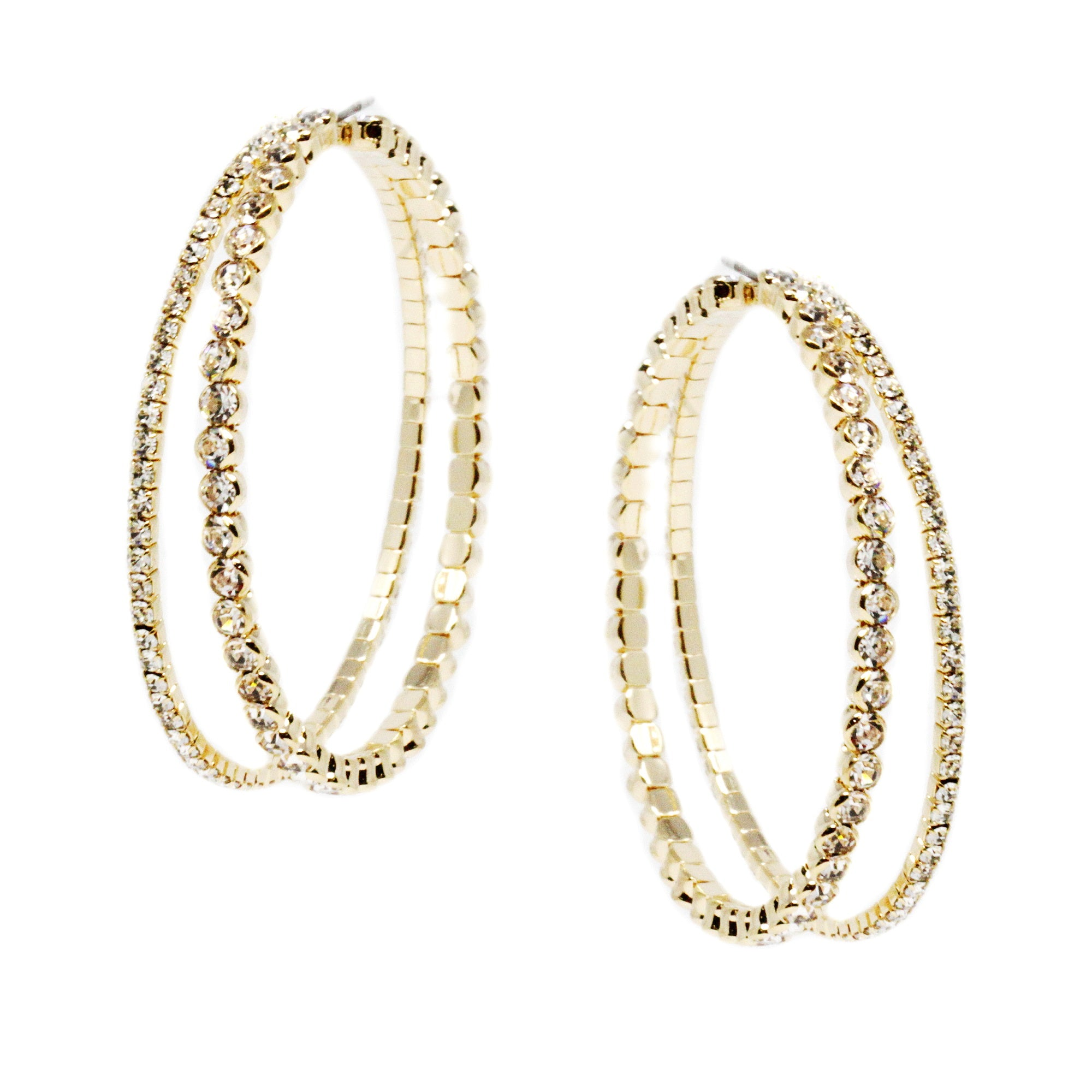 Double Row Rhinestone Hoop Earrings