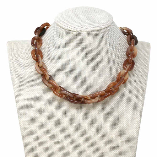 Acetate Link Short Collar Necklace