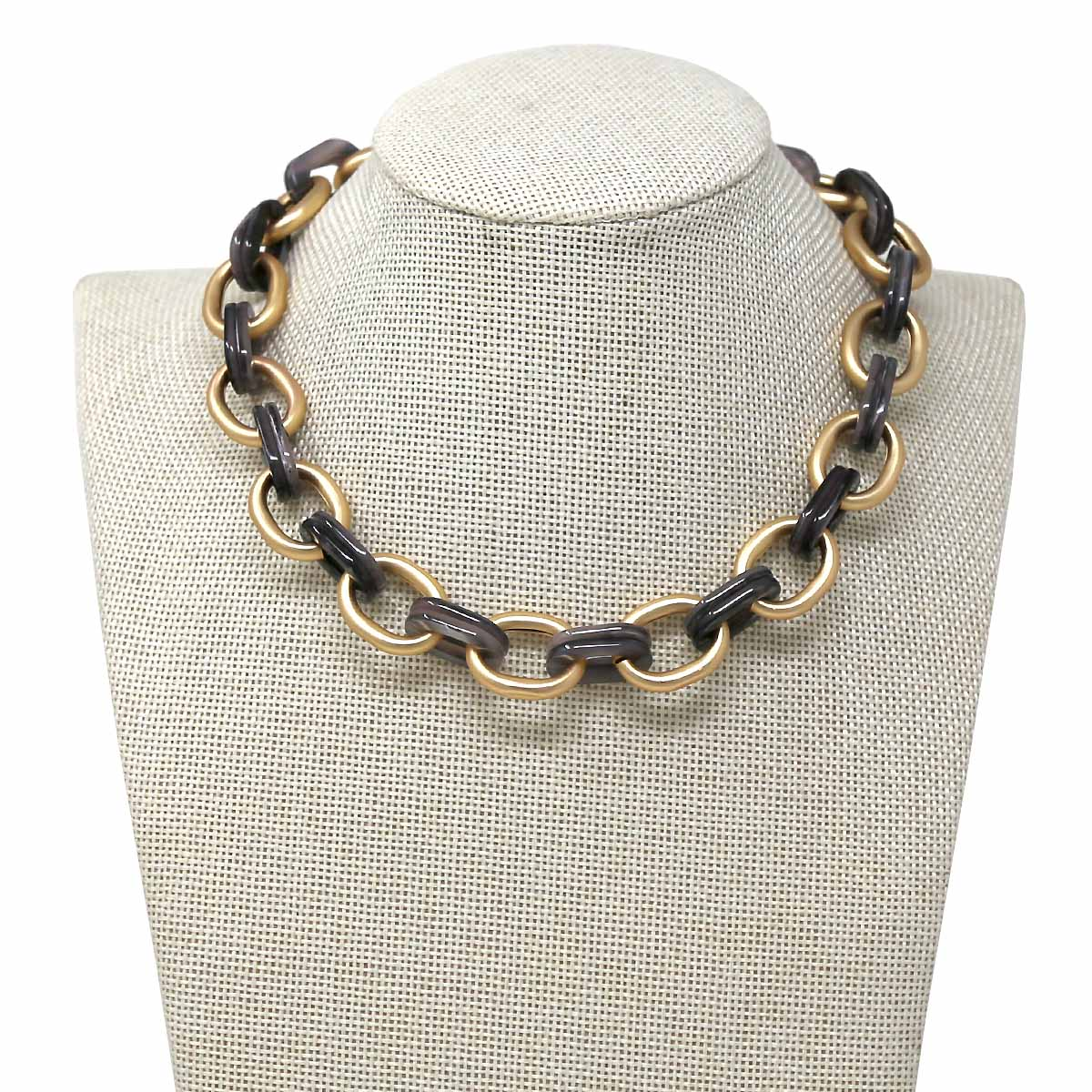 Matte Metal And Acetate Link Short Collar Necklace