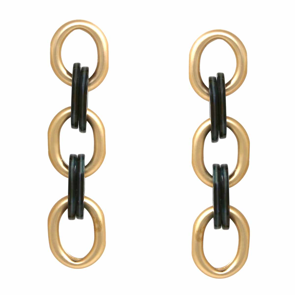 Matte Metal And Acetate Link Drop Earrings