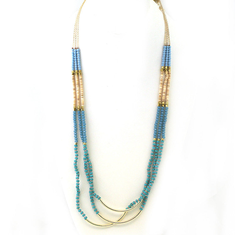 Multi Beads-Multi Strands Long Necklace