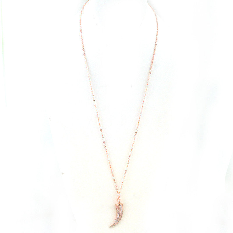 Horn Pendant Pave Setting Necklace