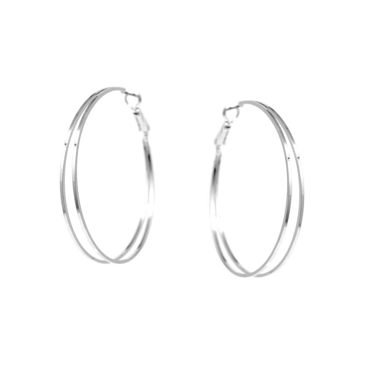 Square Edge Double Layered Hoop Earrings (50 mm)